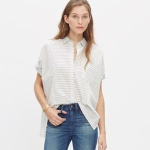 Madewell White/Gray Grid mix Short Sleeve button up preppy top s